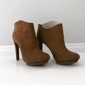 Zara camel suede ankle bootie